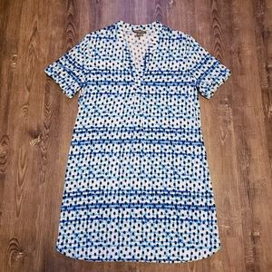 TOMMY BAHAMA BLUE DOT MATRIX SHORT SLEEVE DRESS
